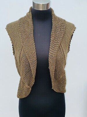 £8 • Buy TOPSHOP Taupe SLEEVELESS SCALLOP EDGE KNITTED SHRUG COVER UP Size 10