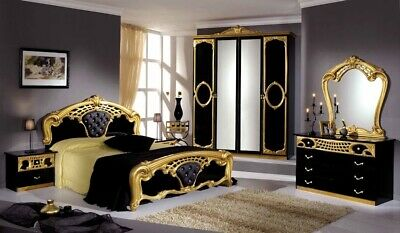 £649 • Buy Original Italian Bedroom Set In Black And Gold High Gloss (Delivery Available)