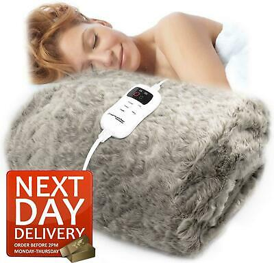 £69.95 • Buy Luxurious Faux Fur Electric Heated Throw Grey Over Blanket Double Single