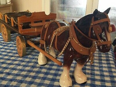 £25 • Buy Pottery Shire Horse And Wooden Cart.