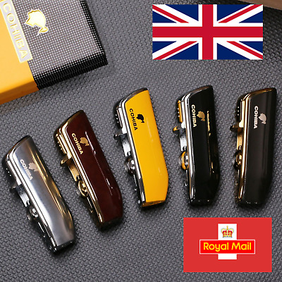 £12.99 • Buy COHIBA Windproof Mini Cigar Lighter 3 Jet Flame Torch With Cigar Punch Metal