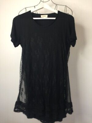£6 • Buy Diesel Ladies Size Small Black Short Dress/top With Lace Overlay Goth/rock Chic
