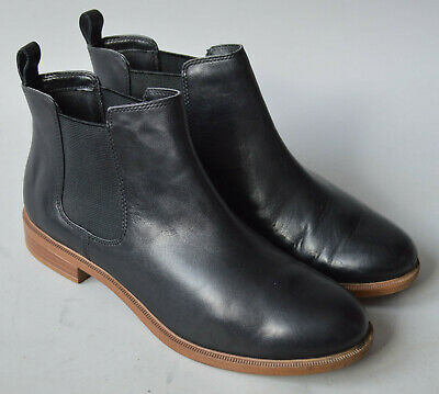 £15 • Buy Ladies Clarks Somerset Taylor Shine Black Leather Ankle Chelsea Boots Size UK 5