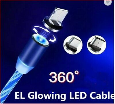 AU6.99 • Buy 3 In 1 Glowing LED Magnetic USB Charging Cable Data Cable For Phone