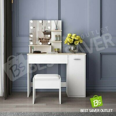 AU219.75 • Buy Dressing Table 10 LED Bulbs Mirror Stool Makeup Table Jewellery Cabinet White