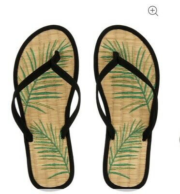 £8.99 • Buy NEW Accessorize Black Bamboo Sandals Flip Flops Leaf Palm Green Seagrass S 3-4