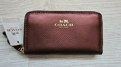 £35 • Buy New Coach Double Zip Signature Coin Purse Wallet Metallic Cherry Leather F63921