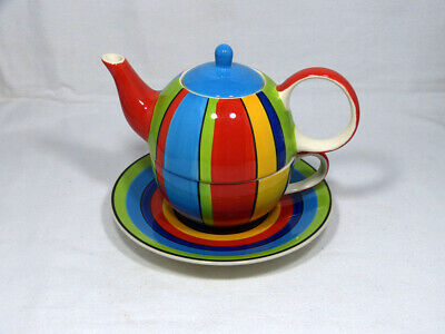 £6.99 • Buy Whittard Of Chelsea Multi Coloured Tea For One Set Teapot Cup Saucer