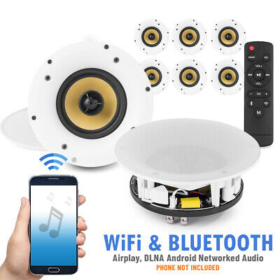 £679 • Buy Amplified Wi-Fi Bluetooth Ceiling Speakers (x8) Multi Room Network Smart Control