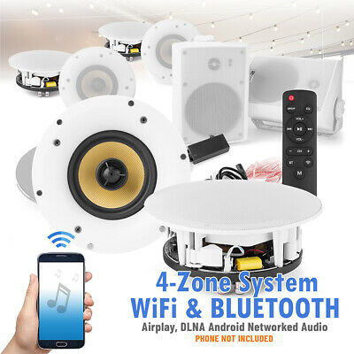 £719 • Buy 8  Ceiling And 5.25  Outdoor Speaker System 4 Zone With WiFi Bluetooth Audio