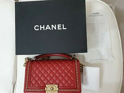 AU6900 • Buy CHANEL BOY Bag - Flap Quilted Calfskin Red