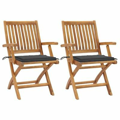 AU296.95 • Buy 2 Pcs Garden Chair Solid Teak Wood Patio Seat With Cushions Outdoor Furniture
