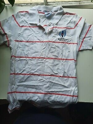 £2 • Buy Rugby World Cup 2019 Japan Size 16 Unisex Pink And White Striped T-shirt