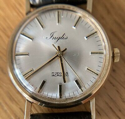 £225 • Buy A Vintage 9ct Solid Gold Inglis Swiss Made Mens Wrist Watch + Box