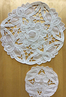 £4.49 • Buy Set Of 1 Lace Table Mat & 6 Coasters In Cream
