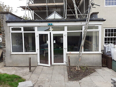 £95 • Buy White UPVC Glazed French Patio Doors With Side Panels And Windows.