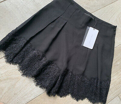 £14.99 • Buy ZARA Smart Chic Black High Waisted Shorts With Lace Trim ~ Size SMALL ~New Tags