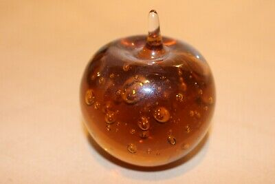 £6.99 • Buy Glass Paperweight,apple Shape,amber Colour,air Bubble Design