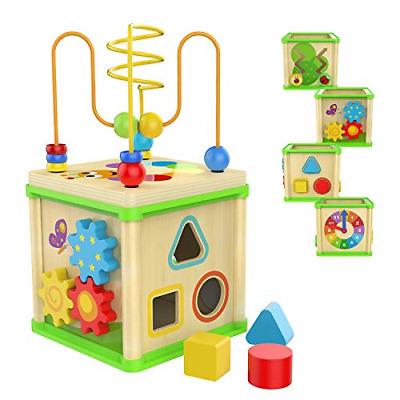 £21.97 • Buy TOP BRIGHT Activity Cube Baby Toy For 1 Year Old Boy And Girl, Wooden Toys For 1