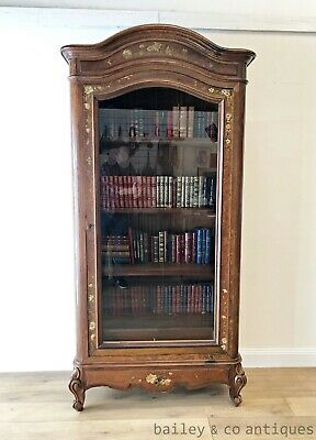 AU1765 • Buy Antique French Louis Style Bookcase Vitrine Display Armoire Domed Top - SF068