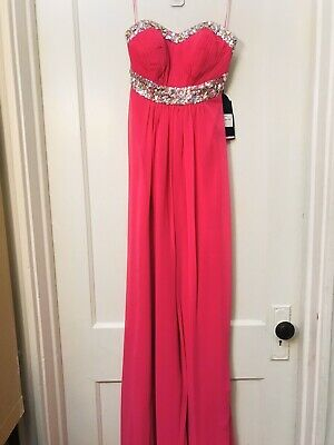 £43.64 • Buy La Femme Crystal Embellished Sequined Chiffon Long Dress Gown Pink NWT Size 2