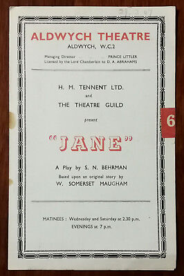 £6.46 • Buy Jane By S. N Behrman Story By W. Somerset Maugham Aldwych Theatre Programme 1947