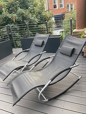£28 • Buy Sun Lounger Set Of 2 - SoBuy Outdoor Garden Relaxing Sun Loungers With Side Bags