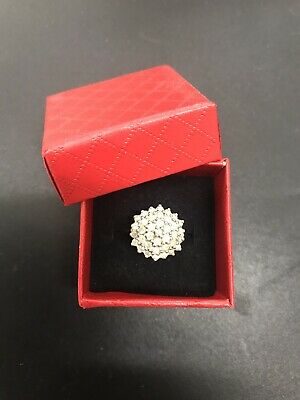 £295 • Buy DIAMOND CLUSTER RING ONE CARAT 1ct 9ct YELLOW GOLD SIZE L.5