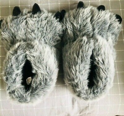 £4.99 • Buy Mens Monster Claw Feet Faux Fur Monster Never Worn Slippers Size 11/12 HALLOWEEN