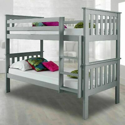 £50 • Buy Double Bed Bunk Pine Wood Kids Grey Children Bed Frame With Stairs