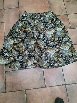 £5 • Buy Vintage St Michael Floral Flare Midi Skirt Size 14 Blue Brown Green Summer M&S