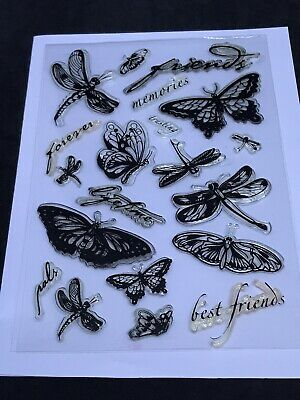 £1.99 • Buy Butterfly Dragonfly Clear Stamp Set - Best Friends Forever Memories Lifetime Etc