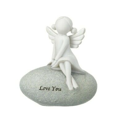£2.99 • Buy I Love You Angel On The Stone Ornament Figurine Sentiment Decoration Gift