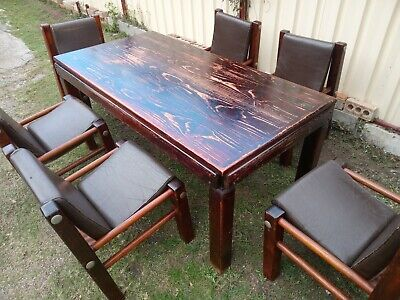 AU499 • Buy Industrial Vintage Post And Rail Dining Suite - Table And Chairs - Timber,...
