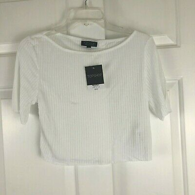 £8.74 • Buy NWT Topshop Womens Ribbed Cropped Tee T-Shirt Raw Hem White Size 4