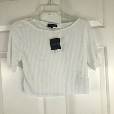 £8.74 • Buy NWT Topshop Womens Ribbed Cropped Tee T-Shirt Raw Hem White Size 10