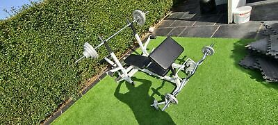 £750 • Buy Olympic Weight Set Cast Iron 108KG Universal Workstation Pulley System Bench Bar