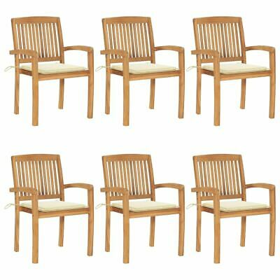 AU708.95 • Buy Stacking Garden Chairs 6 Pcs Wooden Outdoor Dining Seat With Cushions Furniture
