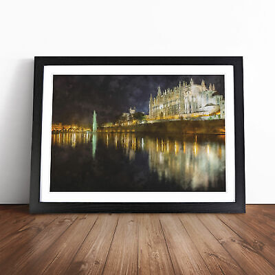 £18.95 • Buy Palma Cathedral In Mallorca Spain Painting Wall Art Framed Print Picture