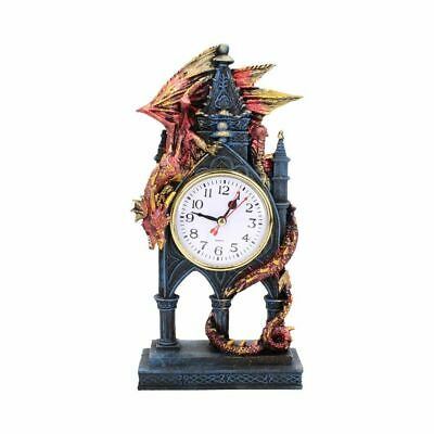 £21.99 • Buy Red Dragon Gothic Fantasy Time Guardian Desk Clock Resin Mantelpiece Handpainted