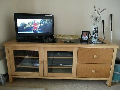 £65 • Buy TV Cabinet In Light Oak Veneer With Glass Front Doors And Two Drawers