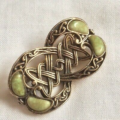 £3.50 • Buy Vintage Green Moss Scottish Glass Agate Celtic Goldtone Signed Miracle Brooch