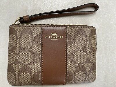 £35 • Buy **COACH* Wristlet Purse Wallet Clutch In Signature Coated Canvas & Leather Strap