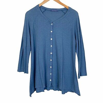£14.66 • Buy Cutloose Cardi Top Linen Cotton 3/4 Sleeves Button Front V Neck Size Large