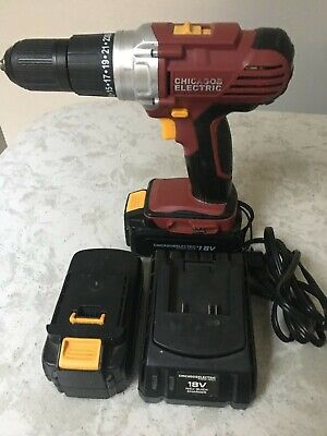 View Details Chicago Electric 18v Cordless Drill Driver 68850 W/battery,charger And Case,atta • 55.00$