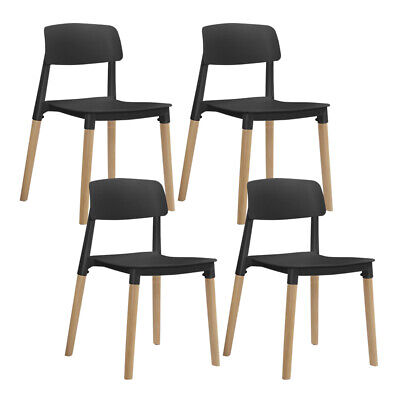 AU127.73 • Buy Artiss Set Of 4 Belloch Replica Dining Chairs Kichen Cafe Stackle Wood Legs
