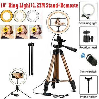 AU1.31 • Buy 10'' LED Ring Light Dimmable+ Remote Controul +1.27M 16-50'' Adjustable Stand AU