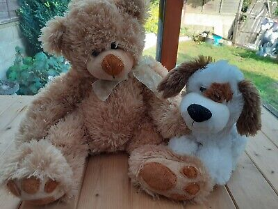 £3.50 • Buy Soft Touch Teddy Bear With Bow And Dog By 'Cuddle Time'