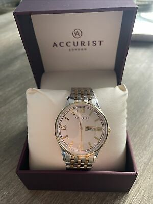 £75 • Buy Accurist Mens Chrome And Gold Strap Watch BNWT