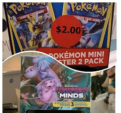 $15 • Buy Pokemon UNIFIED MINDS Mini 3 Card Booster DISPLAY BOX ONLY EMPTY + $2 Mini Box